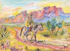 Cowboy in the Organ mountains, New Mexico
