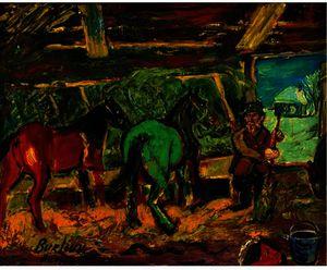 红色和绿色 马匹  在  一个  稳定