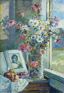 Vase with flowers and book by the window