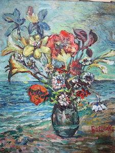 Ocean and flowers