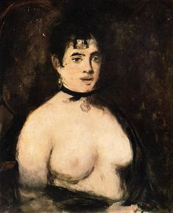 Brunette with bare breasts