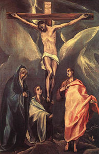 Christ on the cross with two Maries and St. John