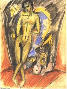 Femme nue debout dans Frot d un Tente