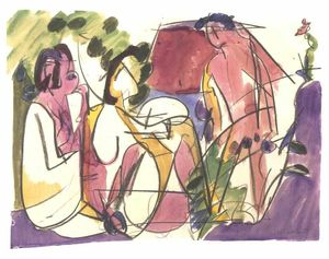 Two Seated Woman and a Striding Man