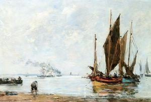 Boats At Anchor along the Shore