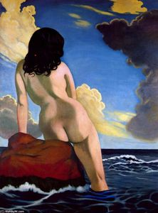 Bather, stormy sky