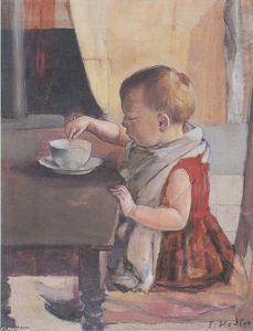Child by the table