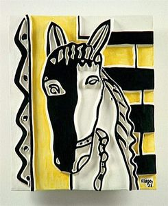 Horse head on a yellow background