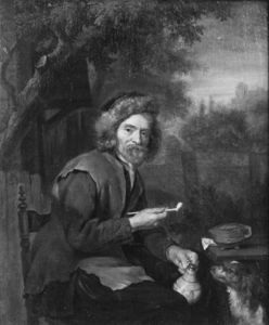 An Old Man Holding a Pipe and a jug