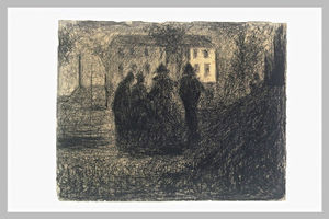 Group of figures in front of a house and some trees