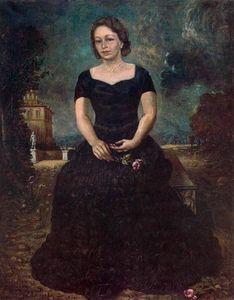 Ritratto di Isa con  rosato  contro  parco