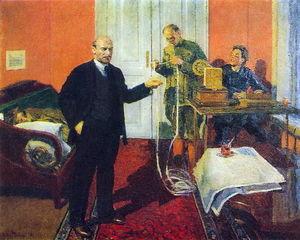 Lenin dictating a telegram at dawn in 1920