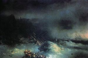 Tempest. Shipwreck of the foreign ship