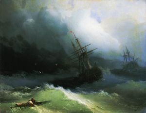Ships in the stormy sea