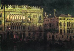 Ka d'Ordo Palace in Venice by moonlight
