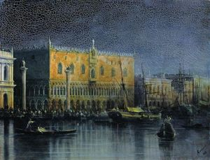 Palace rains in Venice by moonlight