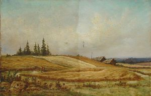 Summer landscape with two houses