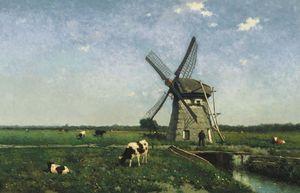 Landscape with windmill near Schiedam