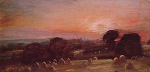 A Hayfield near East Bergholt at Sunset