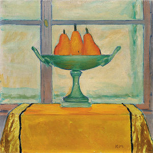Fruit bowl with three red and yellow pears