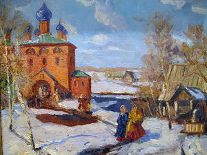 Winter. Landscape with The Red Church