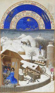 Facsimile of February: Farmyard Scene with Peasants