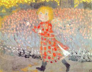Bambino in un grembiule o Bambina in un vestito rosso