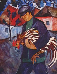 Boy with rooster