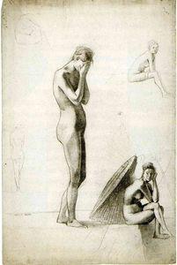 Five studies of female nudes