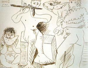 Человек с ягненком, человек ест арбуз и флейтиста