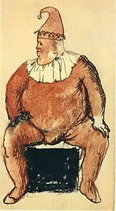 Seated fat clown
