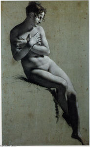 Drawing of Female Nude with charcoal and chalk
