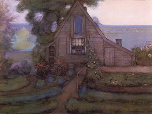 Triangulated Farmhouse Facade with Polder in Blue