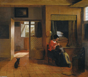 Interior with a Mother delousing her Child