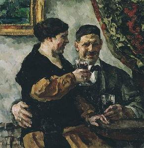 Self-portrait with wife