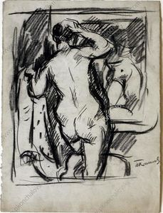 The woman in front of a mirror