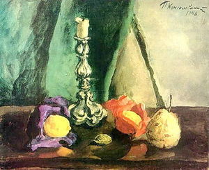 Still Life. Candlestick and pear.