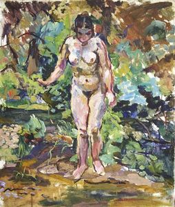 Nude on a green background