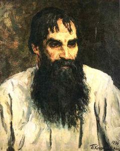 Portrait of national artist, a woodcarver, A. Ershov