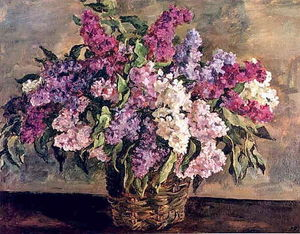 Still Life. Lilacs in a basket ('heroic').
