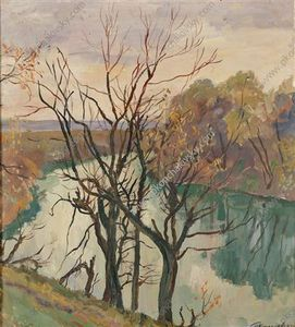 The river. Leafless trees.