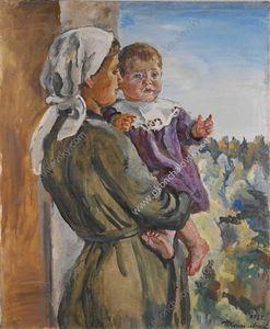 Katya on the lap (a nurse)