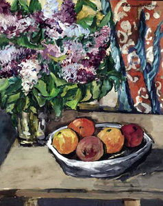 Still life with lilac and orange