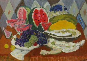 Still life with fruits and watermelon