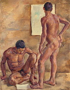 Students in the studio (nude)