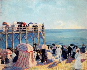The beach and pier at Trouville