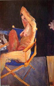 Seated Nude, Black Background