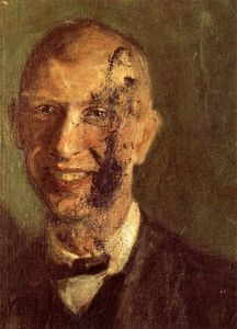 Fragment of a smiling self-portrait at full length, detail