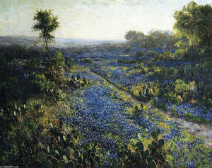 Field of Texas Bluebonnets and Prickly Pear Cacti