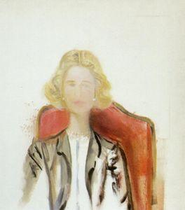 porträt von einem frau - Grau jacke ein Perle Halskette